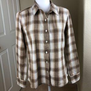 Prana Brown/Cream Plaid Button-down shirt Medium